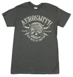 Aerosmith-Bad-Boys-Of-Boston-Skull-Grey-T-Shirt-New-Official-Band-Merch