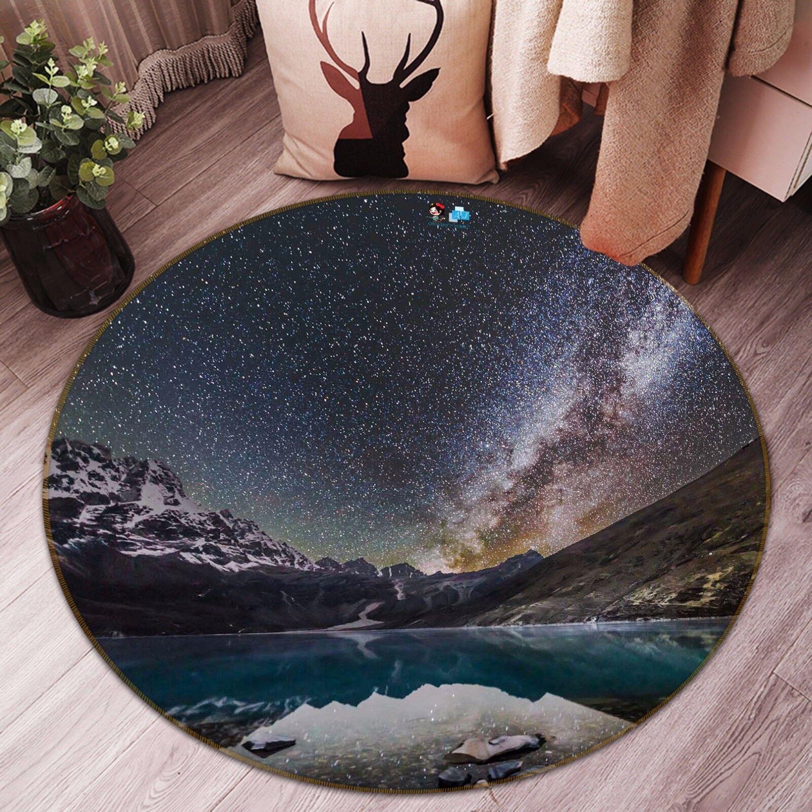 3D Snow View 512 Non Slip Rug Mat Room Mat Round Quality Elegant Photo Carpet CA