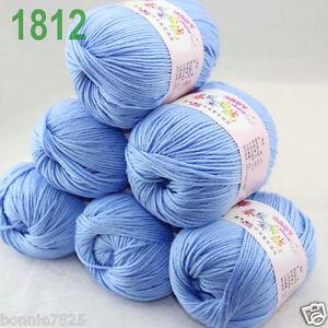 Sale-6-ballsx-50gr-DK-Baby-Soft-Cashmere-Silk-Wool-hand-knitting-Crochet-Yarn-12