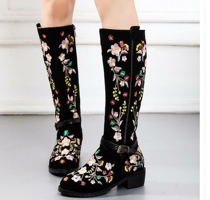 luxury women's knee high boots folk chinese style embroidered buckle shoes New^
