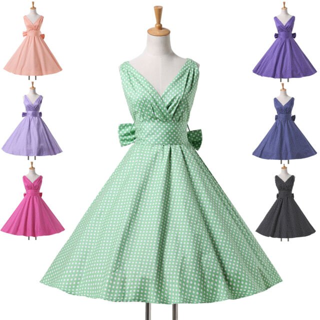 Country Style1950s Vintage Swing Housewife Masquerade Evening Dress