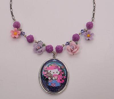 Tarina Tarantino Pink Head Russian Hello Kitty Rose Flower Charm Cameo Necklace