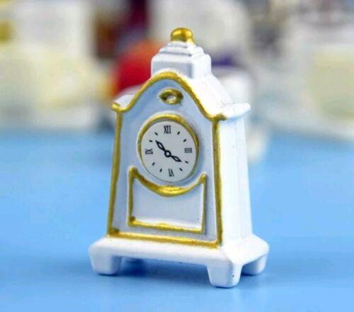 Miniature dolls house accessories White /& Gold Clocks 1:12th miniature scale