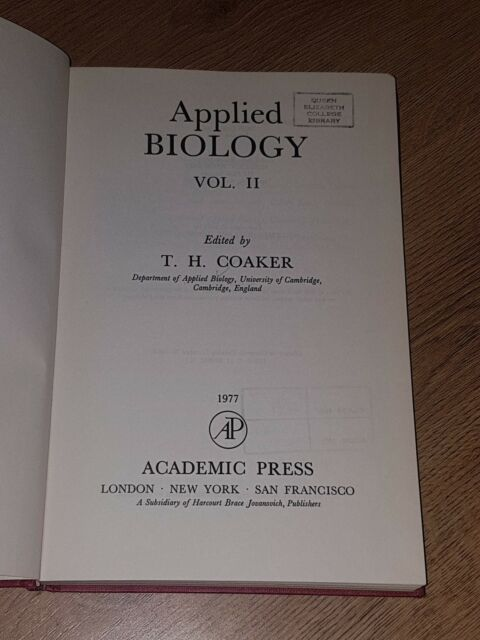 Applied Biology Vol. 2 by TH Coaker