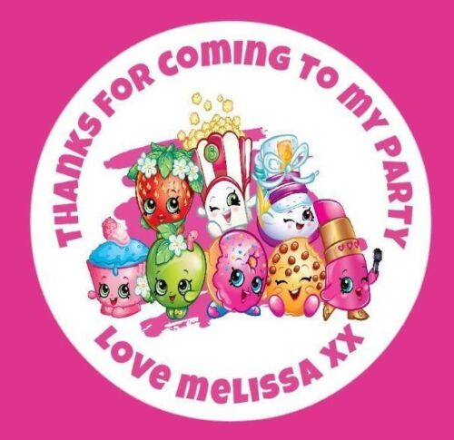 Personalised Round Shopkins Birthday Party Stickers Sweet Cone Bags Labels Seals