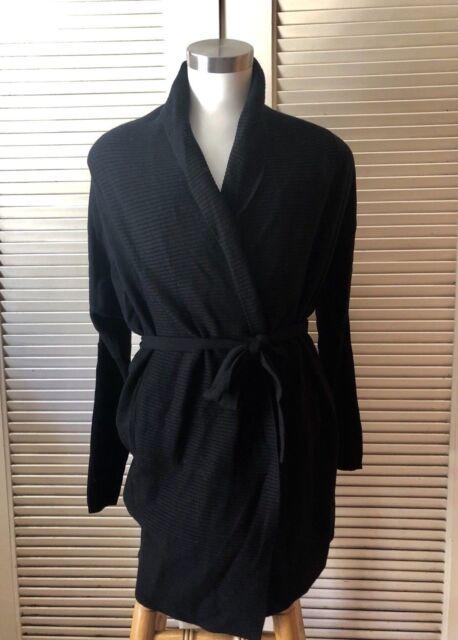 UGG Womens Black Cheyenne 100 Cashmere Sweater Wrap  Robe Size L  67b8cc132