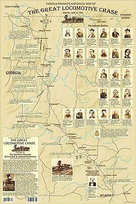 Railroad Map Of Georgia.Great Locomotive Chase The General Georgia Railroad Civil War Historical Map Ebay