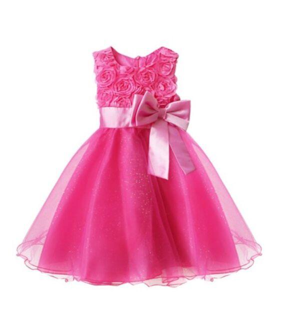 7f3ba4434210 Girls Bridesmaid Princess Dress Baby Flower Kids Party Rose Bow ...