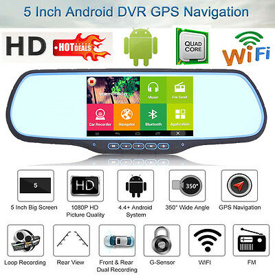 "5"" HD 1080P Android Dual Lens GPS WIFI Car DVR Rear View Mirror Dash Cam Camera"