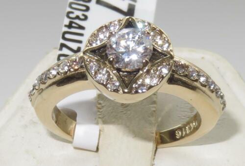 Ladies gold ring cz cubic zirconia accents 18kt steel no tarnish elegant 3034
