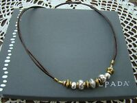 Silpada Sterling Silver, Brass, Leather treasured Trinkets Necklace N3237
