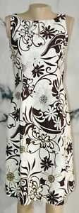 JESSICA HOWARD White Black Green Floral Print Sleeveless Dress 6 Lined St Cotton