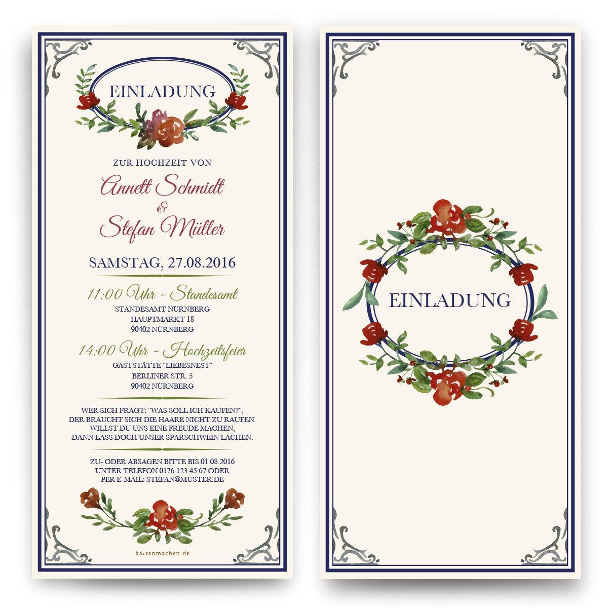 Einladungen zur Hochzeit Blaumen Aquarell Wasserfarbe Einladungskarte   | Neuer Eintrag  | Moderne und elegante Mode