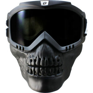 Birdz Skullbird Black Powersports Motorcycle Goggles With Face Mask Smoke Lens Ebay