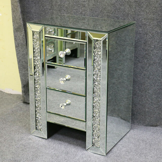 Mirrored Furniture Glass Bedside Cabinet Table With Drawer Bedroom