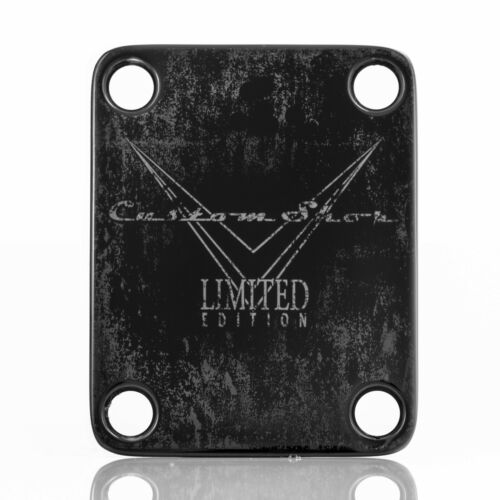 Engraved Guitar Neck Joint Heel Plate Standard 4 Bolt BLACK #2092
