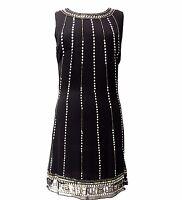 BNWT Ladies BLACK Dress Tunic Top Evening 1920's Shift Dress Size 8 10 12 14 16
