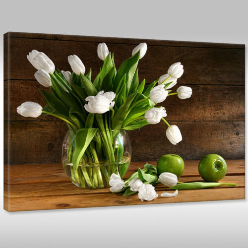 Leinwandbild Canvas Print Wandbilder Keilrahmen Blumen schöne Tulpen in der Vase