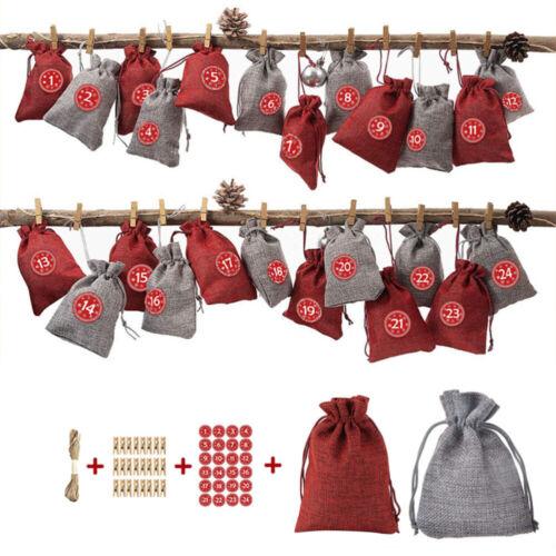 Adventskalender Weihnachtskalender zum Befüllen Weihnachten Säckchen XMAS Decor