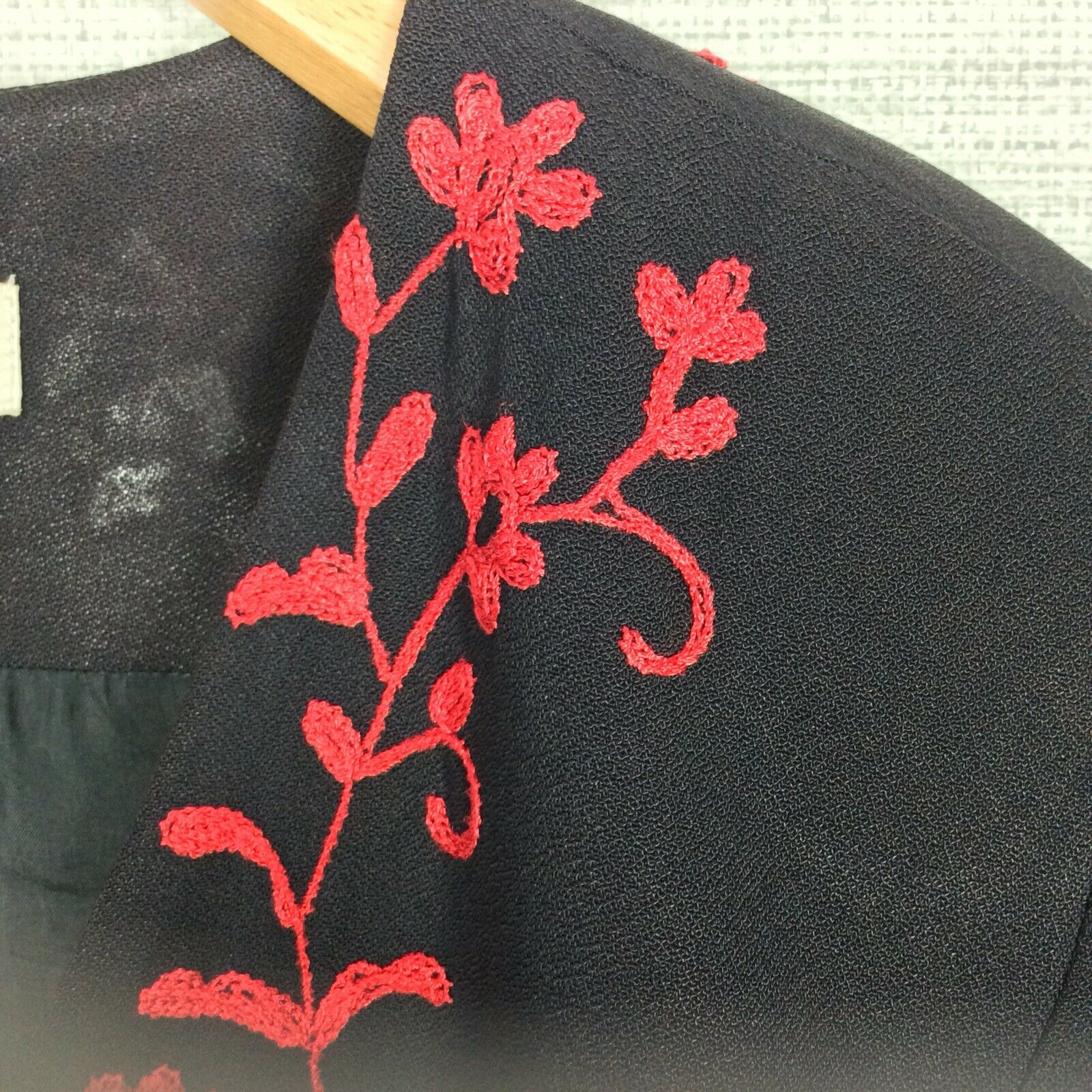 Marie St. Claire Vintage Womens Jacket Black Red … - image 2