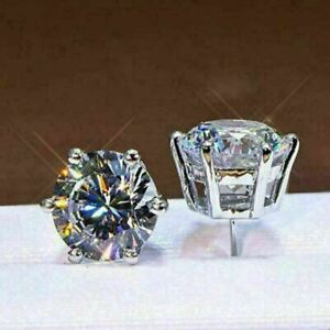 3-Ct-Round-Moissanite-Six-Prong-Solitaire-Stud-Earrings-14K-White-Gold-Finish