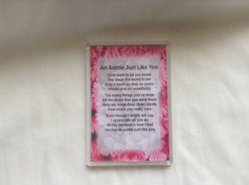 boîte cadeau gratuit Aimant Réfrigérateur-Poème personnalisé-Tantine Poème-Rose Floral