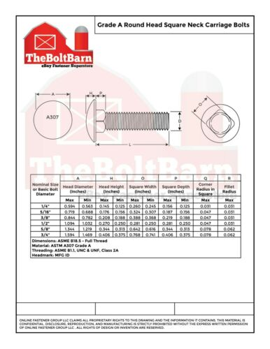 """Pick Length /& Qty 5//16/""""-18 Grade A 307A Full Thread Carriage Bolts Galvanized"""