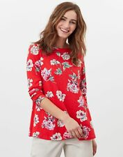 Joules Womens Harbour Light Swing Long Sleeve Jersey Top - Red Floral