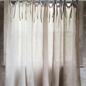 Details zu Beatrice 100% pures Leinen Vorhänge Gardinen shabby chic  Landhaus Vintage french