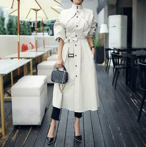 Korean-Fashion-Womens-Belted-Trench-Coat-Stand-Collar-Elegant-Casual-Overcoat