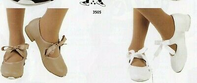 Girls tap shoe 3505 child szs 3 colors elastic inset ribbon tie THESE RUN SMALL!