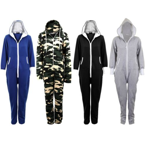 Women/'s Plain all In One Jumpsuit Zipper Ladies Playsuit Hooded Sizes 8 10 12 14