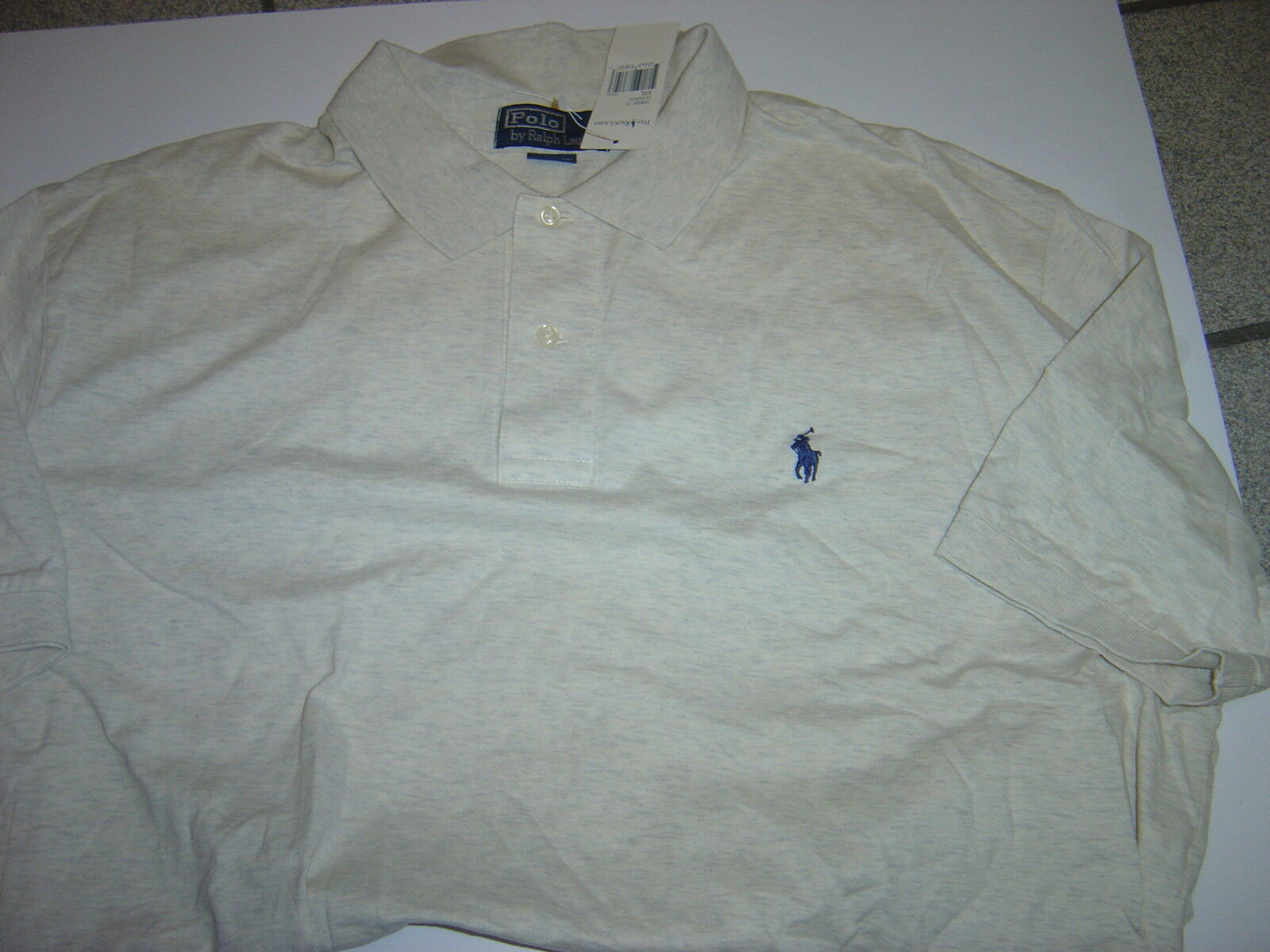 NEW MENS RALPH LAUREN BEIGE W NAVY POLO S S POLO SHIRT SIZE XXL