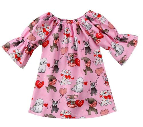 Baby Toddler Girl 3//4 Sleeves Puppy Heart Print Lightweight Mini Dress