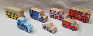Lot-Of-7-Wooden-Toy-Police-Car-Fire-Truck-Emergency-Vehicles-cars-amp-trucks