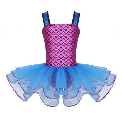 iixpin M/ädchen Fischschuppen Ballett Trikot Leotard Meerjungfrau Tanzbody Bodysuit Kinder Gymnastikanzug Ballettanzug Turnanzug