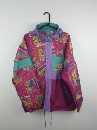 Zipup Vtg Uk Bright Athletic Sports Bold Rain Cagoule Coat Festival Xl Mac Retro HRRwqxrt