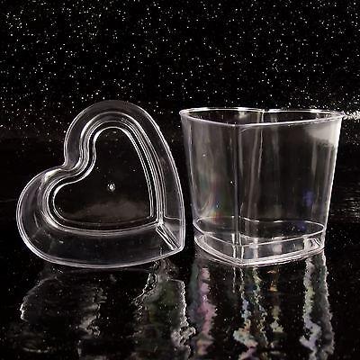 Premuroso Cuore 7.5cm Monouso Coppe Da Dessert (n) Il Canape 'piatti Plastica Trasparente Festa-mostra Il Titolo Originale