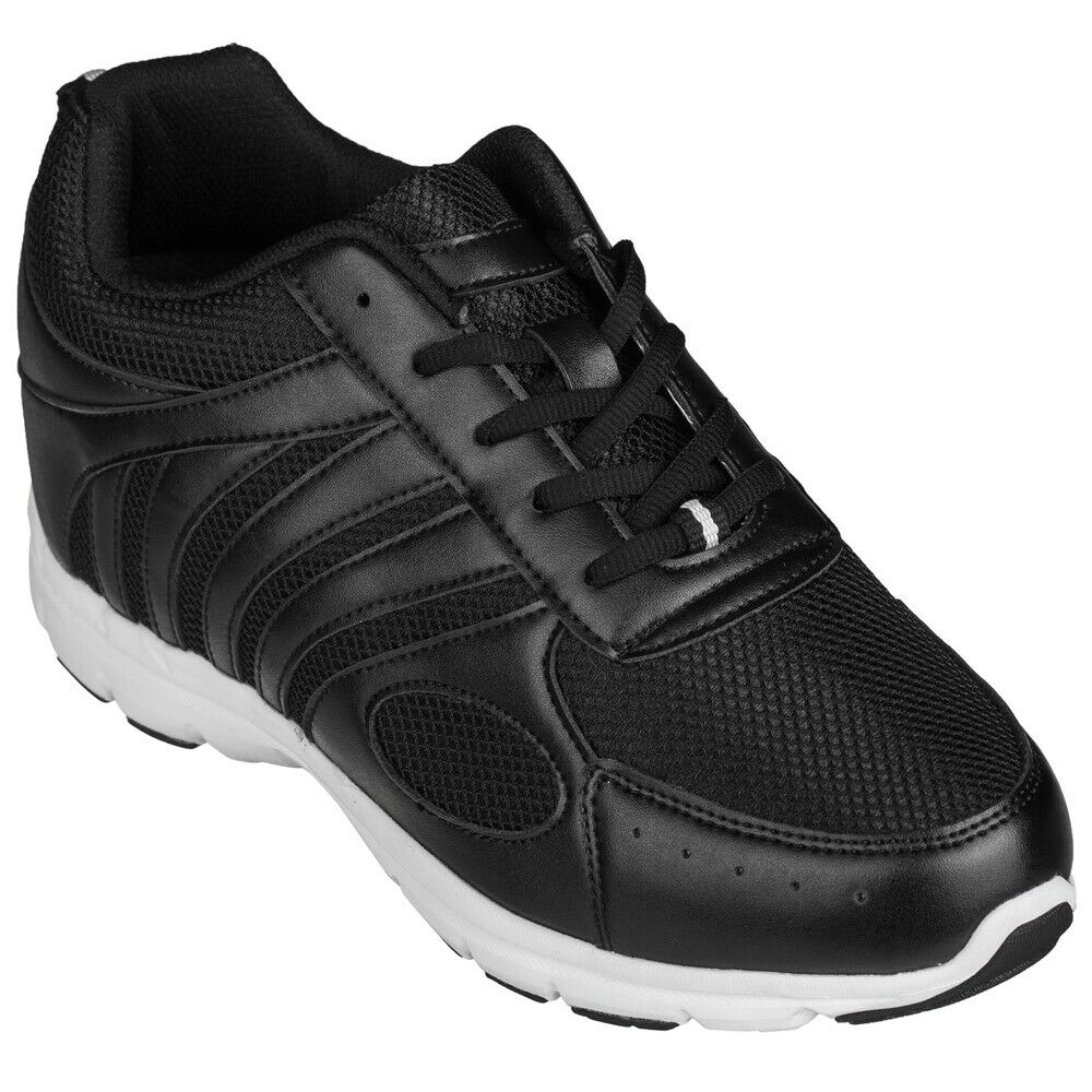 CALTO G3304 - 3 Inches Elevator Height Increase Mesh Sporty Sneakers Black