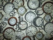 Vintage Train Clocks Big City Cream Cotton Fabric FQ