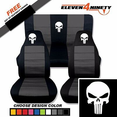 1997-2002 Jeep Wrangler Black Charcoal Seat Covers/Punisher Skull. 9 Colors