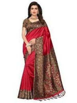 Red Art Silk Saree Indian Party Wear Designer Sari