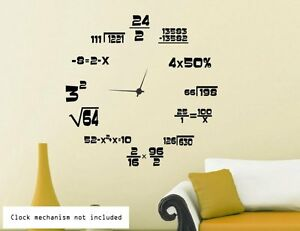 Image is loading Maths-Geeks-Clock-Background-Wall-Stickers-Wall-Decals-  sc 1 st  eBay & Maths Geeks Clock Background. Wall Stickers Wall Decals. Many ...
