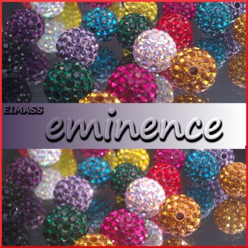 Round Beads Rhinestone Crystal Clay Shamballa Beads for Bracelet /& Necklace