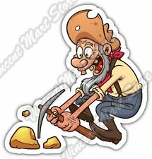 "Miner Mining Pickaxe Gold Funny Cartoon Car Bumper Vinyl Sticker Decal 4""X5"""