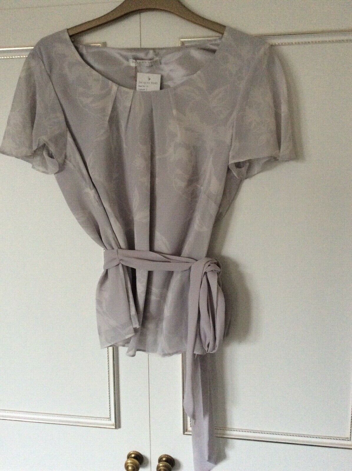 Jacques Vert Size 10 Petite Grey Top Wedding/Occasion