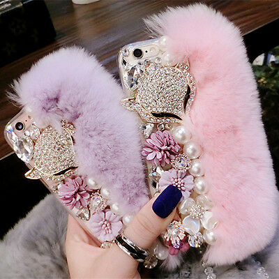 M1! Fluffy Fur Bling Diamonds Pearl jewelry Case Cover For Mobile Phone