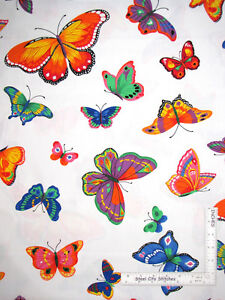 Butterflies-Butterfly-Multi-Color-Various-Size-White-Cotton-Fabric-By-The-Yard
