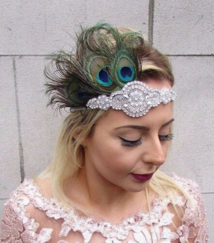Silver Peacock Feather Headpiece 1920s Headband Flapper Vtg Great Gatsby 4613