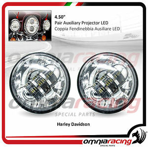 Coppia-Supplementari-Fari-LED-Omologati-4-50-034-Harley-Touring-Fog-Front-LED